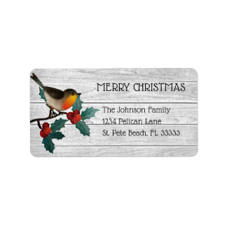 Cute Bird on Holly Branch Merry Christmas Label