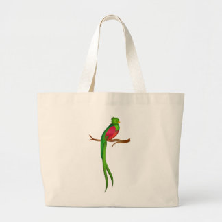 Cute bird Quetzal Large Tote Bag