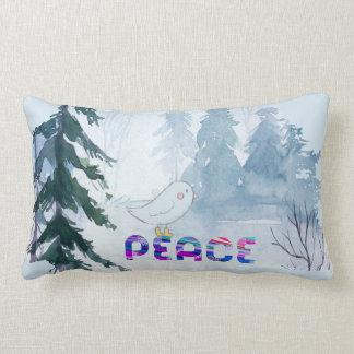 Cute Bird Sitting on Peace in Winter Lumbar Pillow