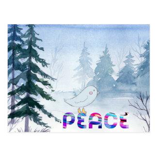 Cute Bird Sitting on Peace in Winter Postcard
