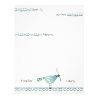 Cute bird whisk cooking baking recipe letterhead