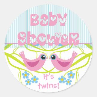 Cute Birdies Baby Shower Envelope Seals Stickers