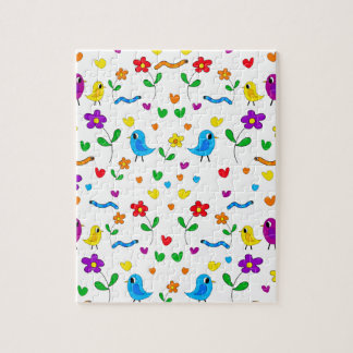 Cute birds and flowers pattern puzzle
