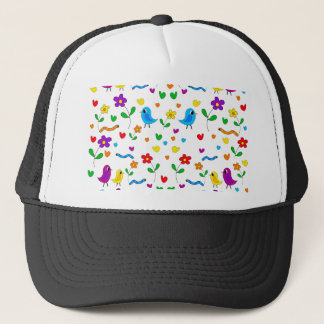Cute birds and flowers pattern trucker hat