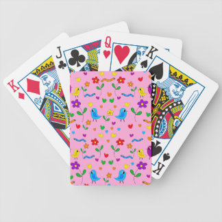 Cute birds and flowers - pink bicycle playing cards
