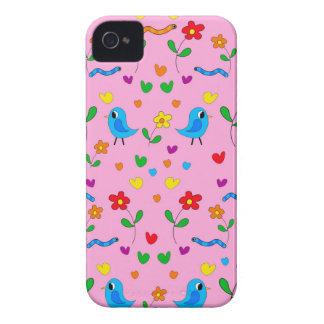 Cute birds and flowers - pink iPhone 4 Case-Mate case