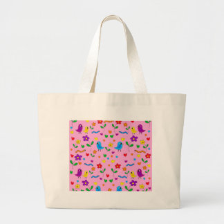 Cute birds and flowers - pink large tote bag