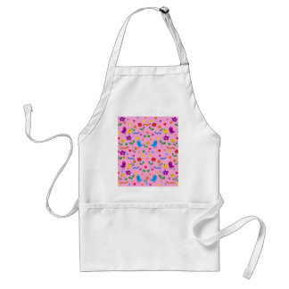 Cute birds and flowers - pink standard apron