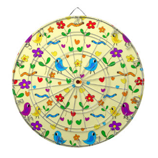 Cute birds and flowers - yellow dart board