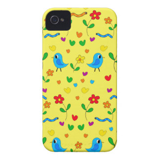 Cute birds and flowers - yellow iPhone 4 case