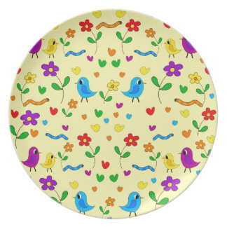 Cute birds and flowers - yellow party plates