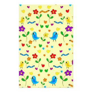 Cute birds and flowers - yellow stationery design