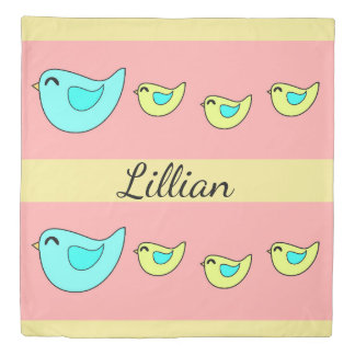Cute birds family peach yellow duvet cover