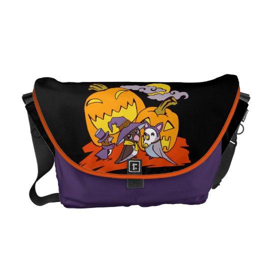 Cute birds halloween party illustration messenger bag
