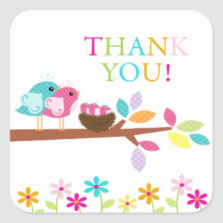 Cute Birds Nest Thank You Triplets Baby Shower Square Sticker