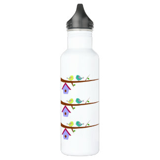 Cute birds on branches 710 ml water bottle