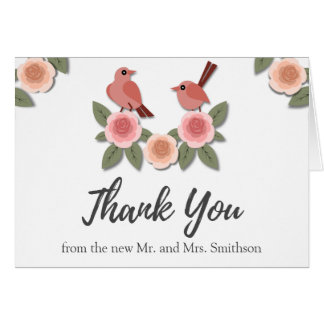 Cute Birds on Flowers | Wedding Thank You Card