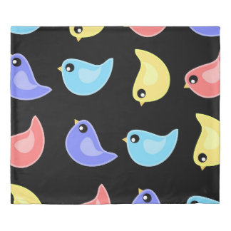 Cute birds rainbow color pattern bold duvet cover