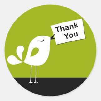 Cute Birdy Thank You Sticker (olive)