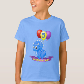 Cute Birthday Boy Blue Baby Triceratops Dino T-Shirt