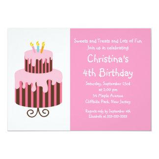 Cute Birthday Cake Birthday Party Invitation