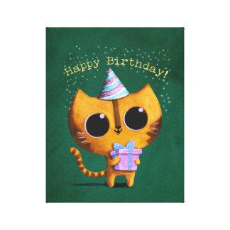 Cute Birthday Cat Canvas Prints