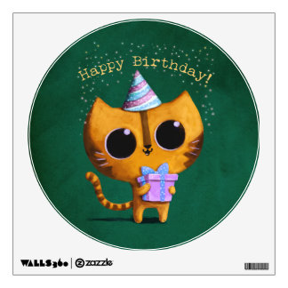 Cute Birthday Cat Wall Decal
