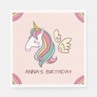 Cute Birthday Doodle Flying Rainbow Unicorn Paper Napkin