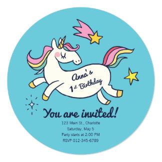 Cute Birthday Doodle Rainbow Unicorn and Stars. Card
