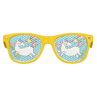 Cute Birthday Doodle Rainbow Unicorn and Stars. Kids Sunglasses