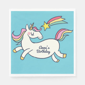 Cute Birthday Doodle Rainbow Unicorn Napkin