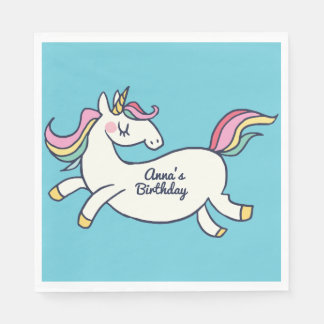 Cute Birthday Doodle Rainbow Unicorn Paper Napkin