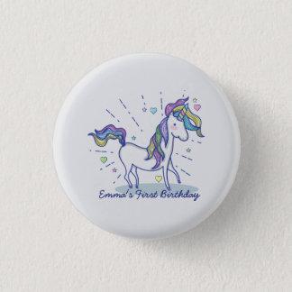 Cute Birthday Doodle Rainbow Unicorn Stars Hearts 1 Inch Round Button