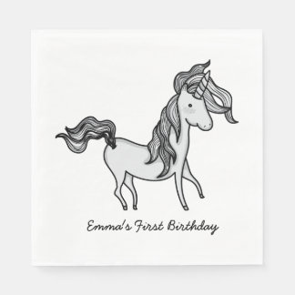 Cute Birthday Doodle Unicorn Paper Napkin