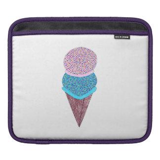 Cute Birthday Double Ice Cream In Cone iPad Sleeve