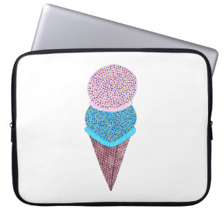 Cute Birthday Double Ice Cream In Cone Laptop Sleeve