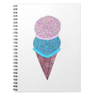 Cute Birthday Double Ice Cream In Cone Notebook