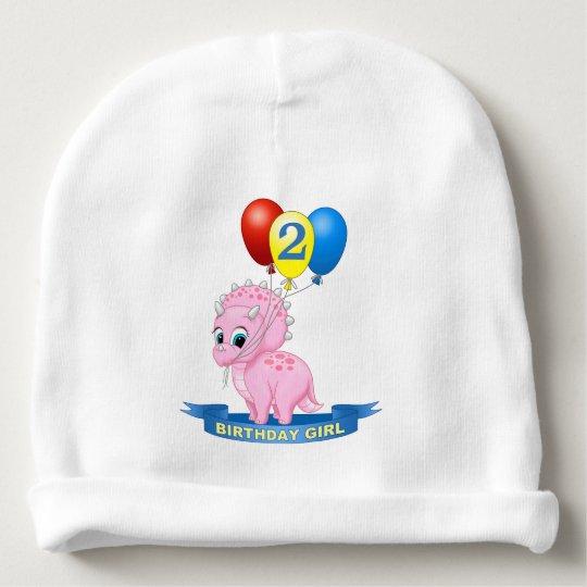 Cute Birthday Girl Pink Baby Triceratops Dino Baby Beanie