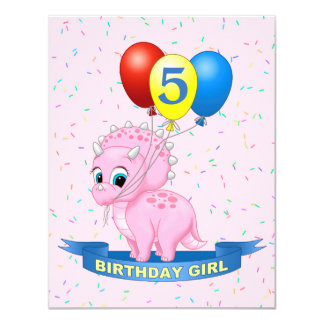 Cute Birthday Girl Pink Baby Triceratops Dino Card
