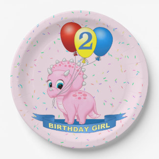 Cute Birthday Girl Pink Baby Triceratops Dino Paper Plate