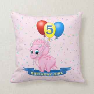 Cute Birthday Girl Pink Baby Triceratops Dino Throw Pillow
