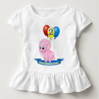 Cute Birthday Girl Pink Baby Triceratops Dino Toddler T-shirt