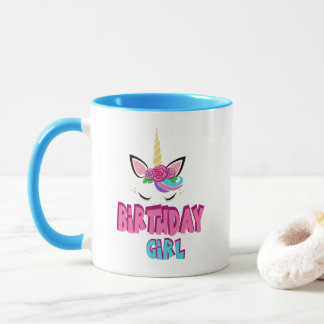 Cute Birthday girl word art coffee mug