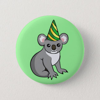 Cute Birthday Koala in Party Hat Drawing Badge 2 Inch Round Button