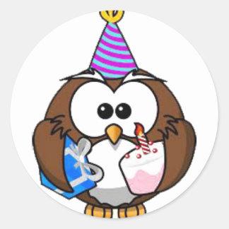 Cute Birthday Owl Birthday Stickers
