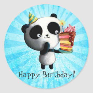 Cute Birthday Panda with Cake Round Sticker