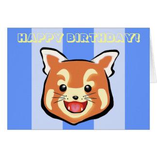 Cute Birthday Red Panda  (Blue Stripes) Card