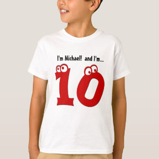 Cute Birthday Tee for Ten Year Old Fun Red Number