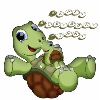 Cute Birthday Turtle Standing Photo Sculpture