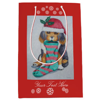 cute black and brown puppy with christmas stocking medium gift bag
